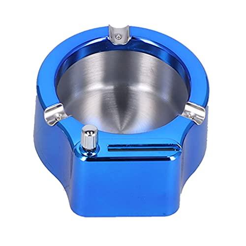 Liyong Cenicero De Acero Inoxidable, Cenicero Multifuncional para Decoración De Fumar, Coleccionables, Casa, Oficina, Bar, Cafetería(Azul)