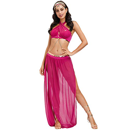 Feynman Vestido de Fiesta Sexy para Adultos Disfraz de Princesa rabe India Disfraz de Halloween Juego de Roles Baile Yoga Vestido Elegante