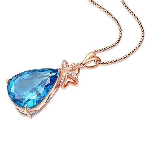 Daesar Collana Donna Oro Rosa 18Kt 19.33ct Topazio Blu Fiore A Goccia Ovale Collane con Diamanti Ciondolo Collana Donnacollane Bambina dell' Amicizia