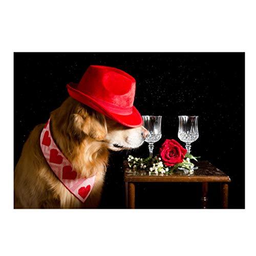 NFGGRF Lindo Perro con Sombrero Vino Flor corazón Animal Carteles Impresiones Lienzo Pintura Cuadros de Pared para decoración de habitación de cocina-60x90cm sin Marco