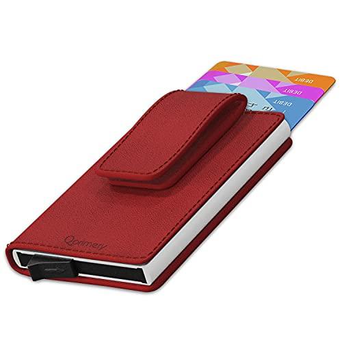 Tarjetero Mujer para Tarjetas Piel Natural legitima RFID Bloqueo Protector de Tarjetas Anti fraude Anti contactless Gran Capacidad Rojo