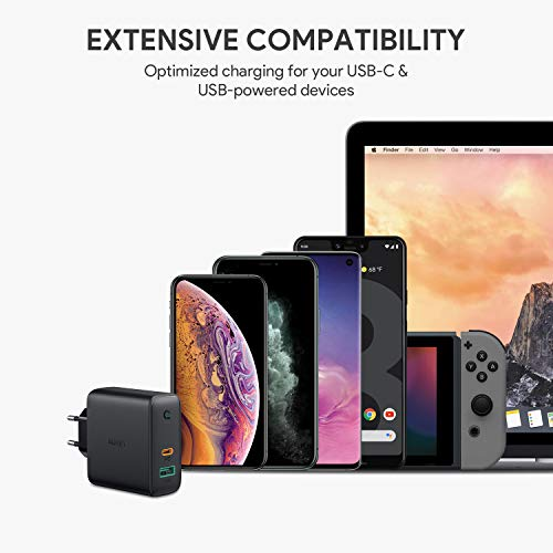 AUKEY USB C Ladegerät 60W Power Delivery, USB-C Netzteil mit Dynamic Detect & GaN Tech, USB C PD Ladegerät für 13''MacBook Pro, iPhone 11 Pro, AirPods Pro, Google Pixel, iPad, Nintendo Switch usw.