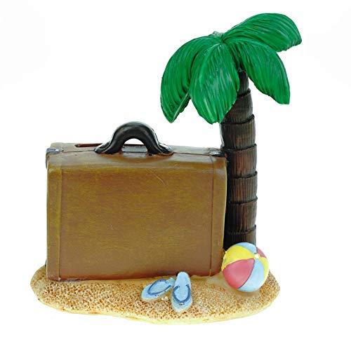 Kremers Schatzkiste Spardose Insel mit Koffer 12 cm Reisekasse Urlaubskasse Urlaub Sparschwein