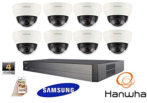 SAMSUNGKIT63: Samsung Hanwa 4MP CCTV Kit 1080P 8 Canales Red IP NVR PoE Dome Security