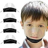 PANGHU - 4 Piezas para niños protección Facial Abierta Visera de Media Cara plástico Protector Facial elástico cómodo portátil protección bucal Reutilizable protección Facial de Seguridad