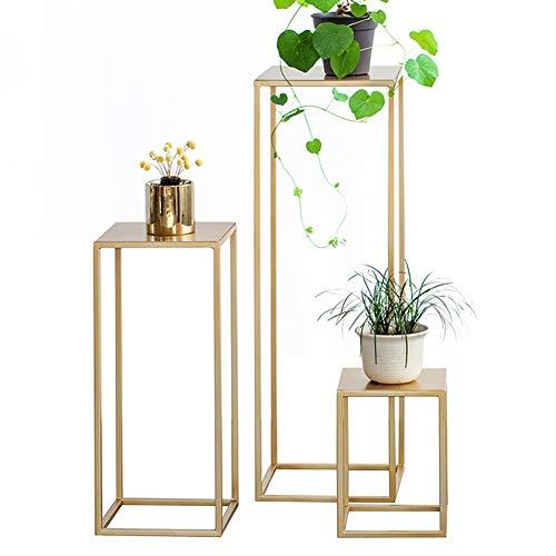 ZHANWEI Blumenregal Kunst Aus Eisen Grüne Pflanze Pflanzenständer Regal Innen- Wohnzimmer Multifunktion Regal, 3 Größen (Color : Gold, Size : 3 pcs)