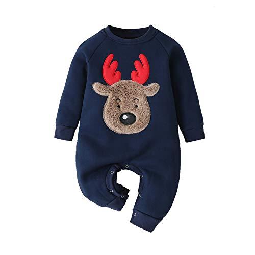 Mameluco de Ciervo de Dibujos Animados para Bebé Ropa de Gemelo Bebé Navidad Mameluco Rojo Azul Adorable Traje(62(0-3 Months),Azul)