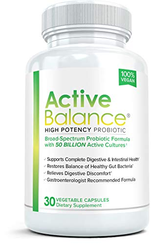 Active Balance Probiotic 50 Billion CFUs: Pharmacist Recommended Probiotics for Women and Men | Shelf Stable Acidophilus Supplement | Ease Bloating, Supports Digestive, Colon & Gut Health, 30 Caps