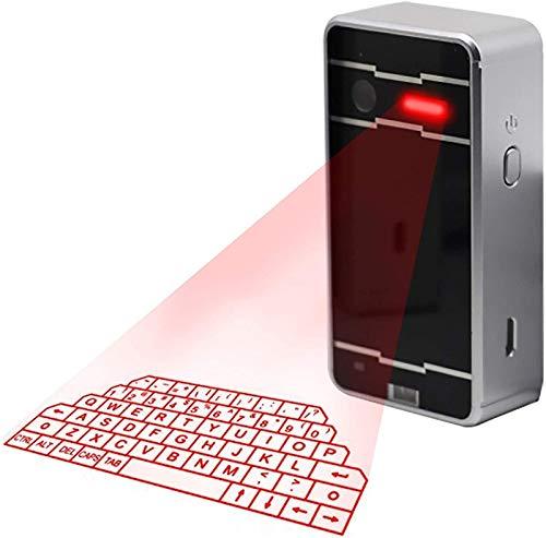 Makeupart Teclado de proyección Virtual Wireless Bluetooth Teclado holográfico Virtual portátil Accesorio Compatible Ideal para PC Smart Phone Digital Typer Table (Color : Silver)