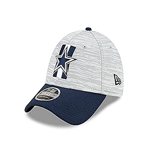 NFL Dallas Cowboys Mens New Era 2021 Training 940 Hat, Grey/Navy, OSFM