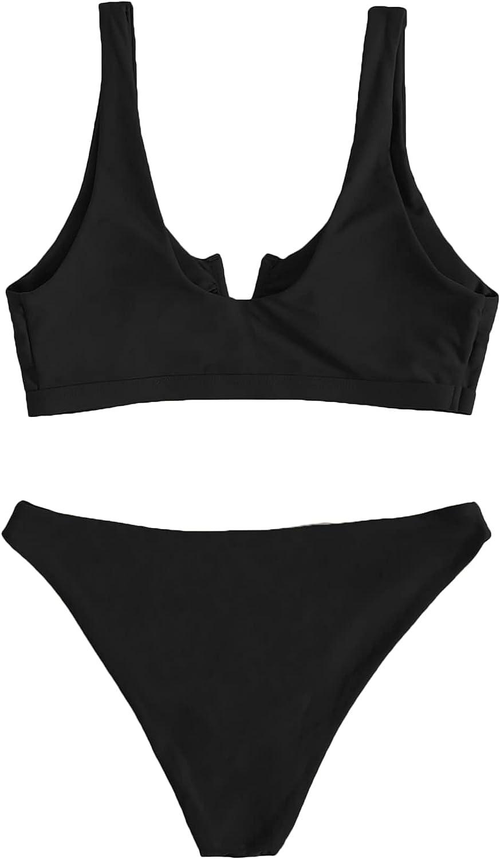 Romwe Women's Sexy V Wired Plain High Waisted Bikini Set Two Piece Swimsuits