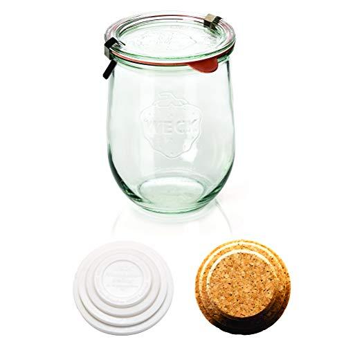Weck Tulip Jars - Sour Dough Starter Jars - Large Glass Jars for Sourdough - Starter Jar with Glass Lid - Tulip Jar with Wide Mouth - Weck Jars 1 Liter Includes (Cork Lid & Keep Fresh Cover)