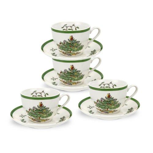 SPODE Christmas Tree Teacup & Saucer x 4