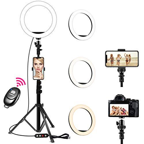 Creatck 【令和2年最新版】 LEDリングライト 外径10In 撮影用ライト USB給電 調色機能付き 10段階調光 自撮...