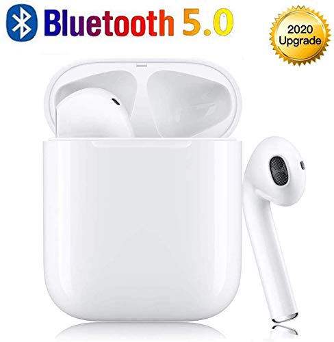 Wireless Earbuds Bluetooth 5.0 Headphones with 24H Charging Case, 3D Stereo Noise Cancelling in-Ear Headsets, IPX5 Waterproof Ear Buds with Mic One-Step Pairing for iPhone/Samsung/Android/Airpods