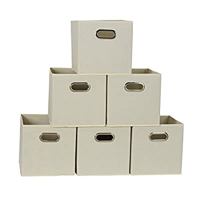 Household Essentials 82-1 Foldable Fabric Storage Bins | Set of 6 Cubby Cubes with Handles | Natural, 6 lbs