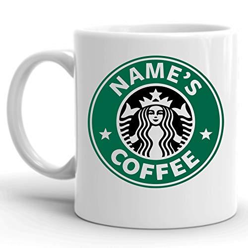"""Taza personalizable. Taza de café con texto en inglés """"Your Name"""""""