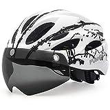FUNWICT Casco Bici con Occhiali Magnetici LED Luce Casco da Mountain Bike Casco Bici da Strada per Adulto...