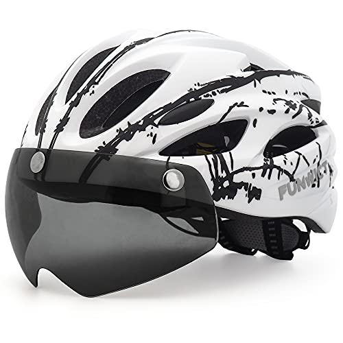 FUNWICT Casco Bicicleta con Gafas Magnéticas Casco Bici de Montaña Ligera LED Casco...
