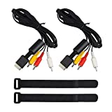 YuCool Lot de 2 câbles Composite AV vers RCA 1,8 m de Long pour Sony Playstation PS2/PS3