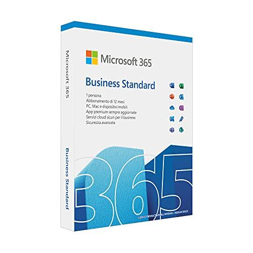 Microsoft 365 Business Standard | per 1 persona | fino a 5 PC/Mac + 5 dispositivi mobili + 5 tablets | 1 abbonamento annuale | codice di attivazione via posta