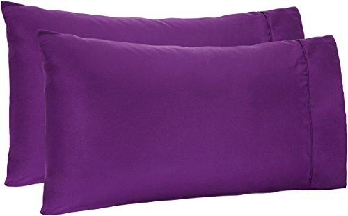 Amazon Basics Lightweight Super Soft Easy Care Microfiber Pillowcases - 2-Pack, Standard, Plum