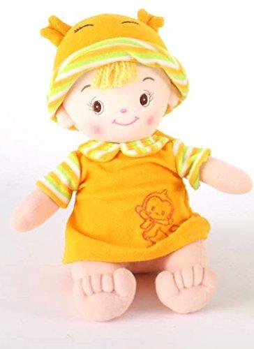 AVENUELAFAYETTE Poupée Enfant Tissu Petit Garçon Assis - 40 cm (Orange)