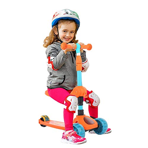 3 Wheels Kid Scooter, 2 in 1 Adjustable Height Kick Scooter for Kids, with Extra-Wide Deck, Back Wheel Brake, Folding Seat, Wheel LED Lights and Music Light, Kids Scooter for Ages 1-14 Years