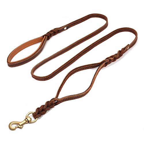 FOCUSPET Heavy Duty Leather Dog Leash with 2...