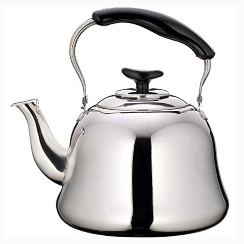 Roestvrijstalen ketel Whistling Stovetop Kettle Tea Machines, roestvrij staal Grote kookketels for camping wandelen Motohome-Silver Outdoor camping waterkoker (Size : 2L)