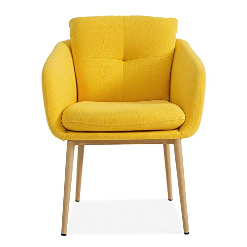 Moderna silla acolchada con patas de metal para sala de estar, soporte lumbar, tela de ocio, dormitorio, estudio, escritorio con reposabrazos (amarillo)