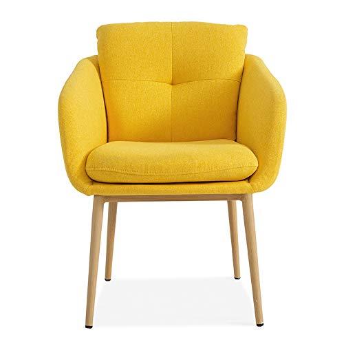 jiexi Sillas de escritorio modernas de tela simple, para aprender en casa, ocio, oficina, dormitorio, asiento con cojín trasero, color cálido