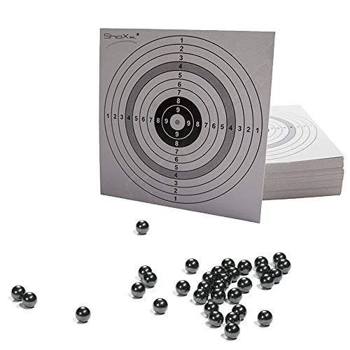 500 Stück Orig. Shoot-Club Marken- Schleudermunition Kaliber 10 mm Stahlkugeln Schleuder Munition für Katapult, Zwille inklusive 10 original ShoXx. Shoot-Club Zielscheiben 14x14cm - 10er Ring