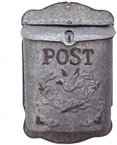 Beveiliging Brievenbussen Amerikaanse Verontruste Rusty Mailbox Wall Opknoping smeedijzeren Mailbox Floral Wandversiering Simulation Inserted Vase Mailbox