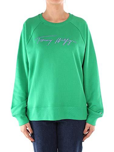 Tommy Hilfiger Damska bluza z luźnym skryptem C-nk, Zielony podstawowy, XL