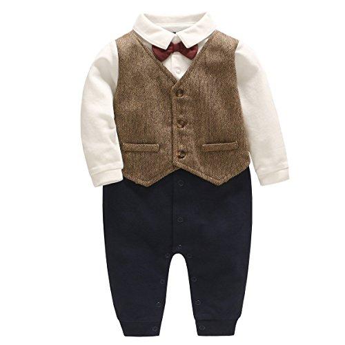 Famuka Baby Junge Smoking Neugeborenen Strampler (Braun, 6-9 Monate/66)
