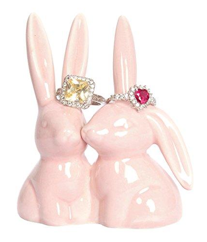 Beth Marie Luxury Boutique Coniglietto Porta Anelli, Rosa Ceramica Fidanzamento e Matrimonio Porta Anelli, Misure 7cm wx3.25hx1.75D