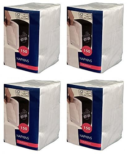NAPKINS white – Papier-Servietten für Spender CABANAZ, weiß - (4 x 150 Stück)