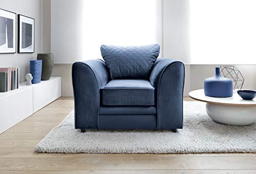 Chicago Ecksofa rechts oder links in dunkelblauem wasserabweisendem Samtstoff (Sessel)