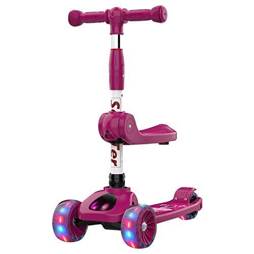 AJAMQ 2-En-1 Kick Scooter con Asiento Extraíble, 3 LED Ruedas para Niños, 3 Altura Ajustable Y Diseño Plegable Patinetes para Niños Pequeños Sit O Stand Ride para Niños Y Niñas De 2 A 6 Años,Rose