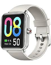 Dirrelo Smartwatch, 1,55 inch Touch Screen Fitness Tracker, Zuurstofsaturatie, Hartslag, Slaapmonitor, Stappenteller, IP68 Waterdicht Sporthorloge voor Dames en Heren, iOS Android Telefoons, Grijs