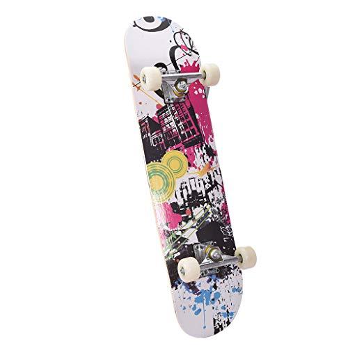 Skateboard Complete, Beginner Skateboards Outdoors Standard Skateboards Maple 8 Layers Double Kick Concave Skate Boards Longboard for Boys Girls-31x8inch (White)