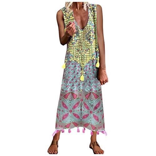 LUADY Women Maxi Dresses-Summer Lace V Neck Short Sleeve Floral Printed Bohemian Long Dress Plus Size