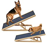 Pet Ramp for Dogs Cats Rabbit, 30/40/50/60cm Adjustable Height Wooden Pet Ramp Folding Car Dog Ladder w/Non-slip Carpet Bearing 150KG/330LB for Large Pets or Small Pets - Foldable Portable Lightweight