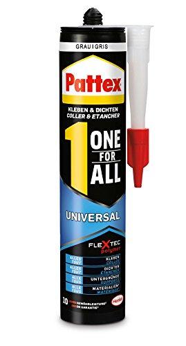 Pattex One for All Universal Kleber grau / Extra stark haftender Alleskleber ohne Lösungsmittel - vereint Montagekleber und Silikon / 1 x 420g