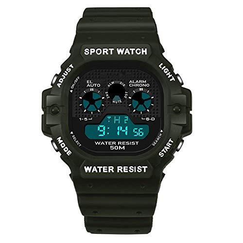 Nueva Multi-Función Reloj de los Deportes de los Hombres de Student y Relojes de Las Mujeres de Negocios a Prueba de Agua Reloj del Cuadrado Digital fengong (Color : Army Green)