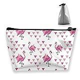 Patrón geométrico con Origami japonés Flamingo Personalizado Bolsa de Almacenamiento Trapezoidal para Mujer Impermeable para Llevar Viajes