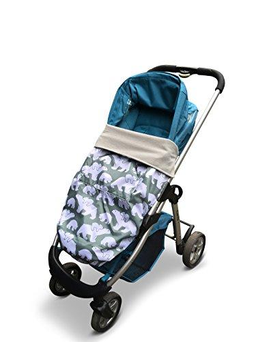 BundleBean GO - Fußsack für Kinderwagen & Autositze/Babytragen-Wetterschutz/Picknickdecke - wasserdicht (Grau-grüne Eisbären)