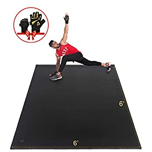 Gxmmat Large Exercise Mat 6'x6'x7mm, Workout Mats for Home Gym Flooring, Extra Wide and Thick Durable Cardio Mat, High Density Non Slip Fitness Mat for Plyo, MMA, Jump Rope, Stretch, Shoe Friendly