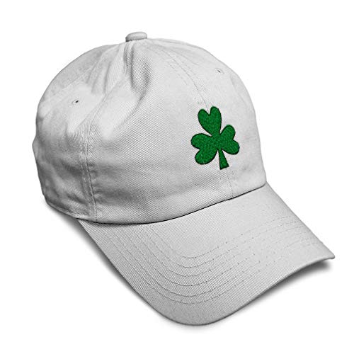 Speedy Pros Soft Baseball Cap Shamrock Embroidery Holidays and Occasions St Patrick's Day Twill Cotton Dad Hats for Men & Women Buckle Closure White Design Only